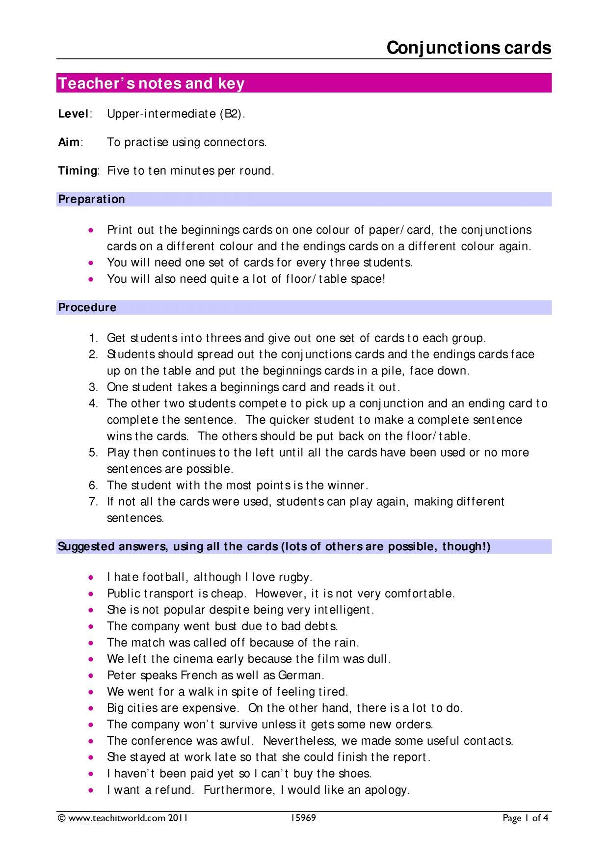 B2 Grammar Connectors Teachit Languages