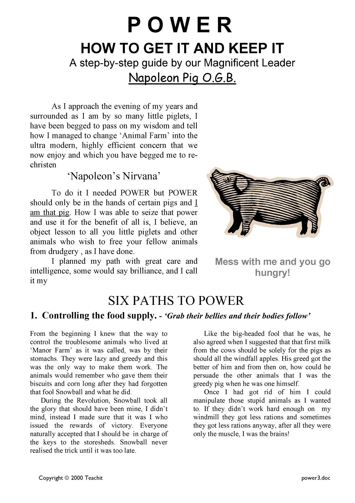 an analysis of power in animal farm a novel by george orwell Animal farm is a novella by george orwell, & is the most famous satirical  allegory  overriding theme in animal farm is the famous quote by lord acton,  power.