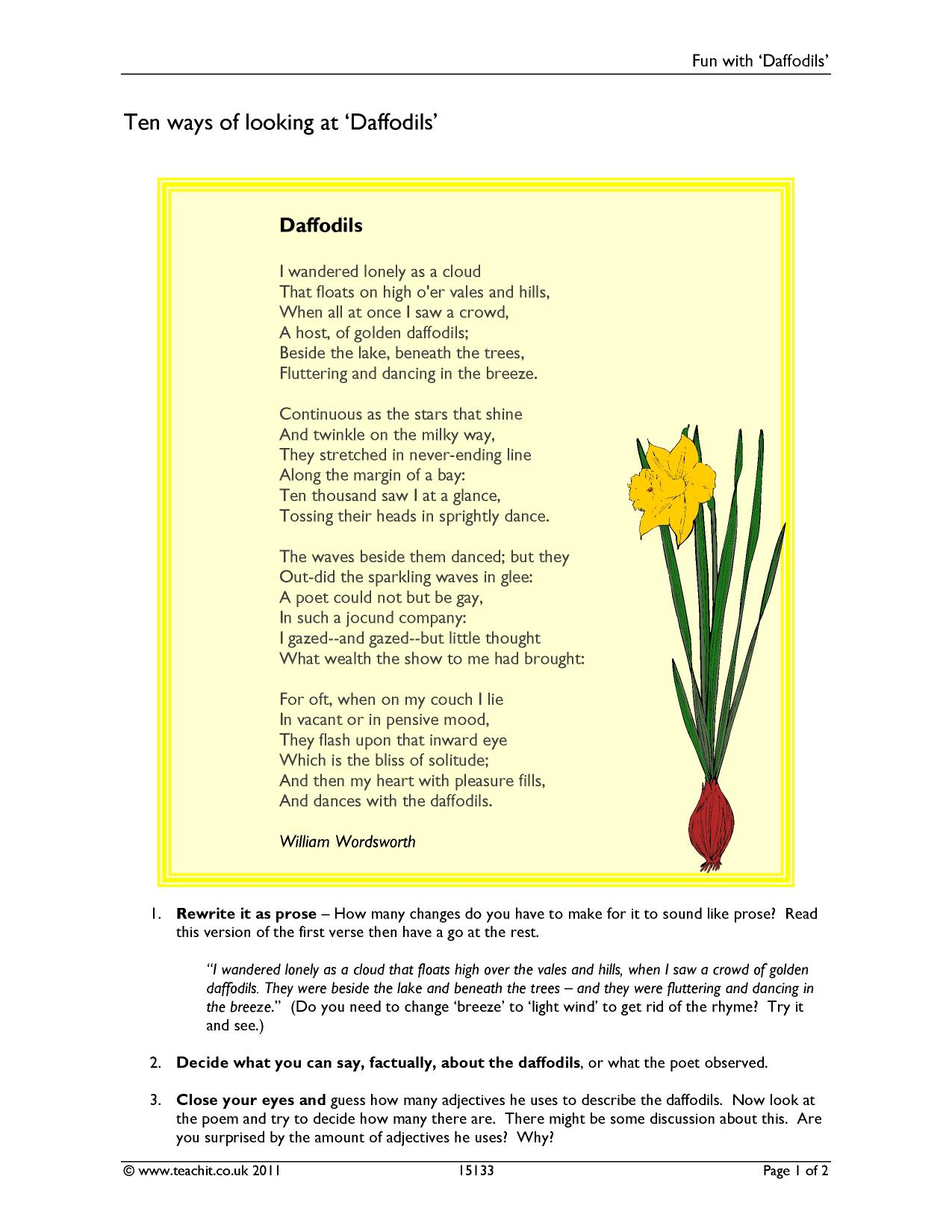 wordsworth william ks poetry key stage resources 1 preview