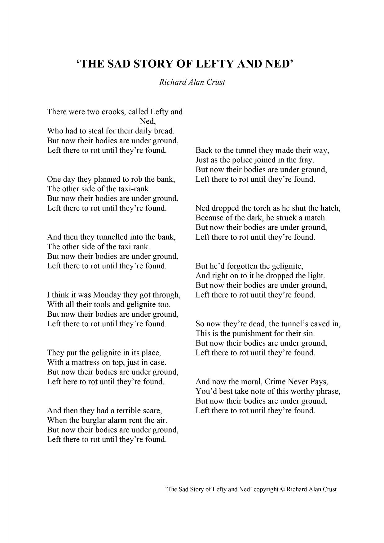 analysis of elements in the poem frankie and johnny Frankie and johnnie were lovers o my gawd how they could love they swore to be true to each other as frankie and johnnie poem by anonymous - poem hunter home.
