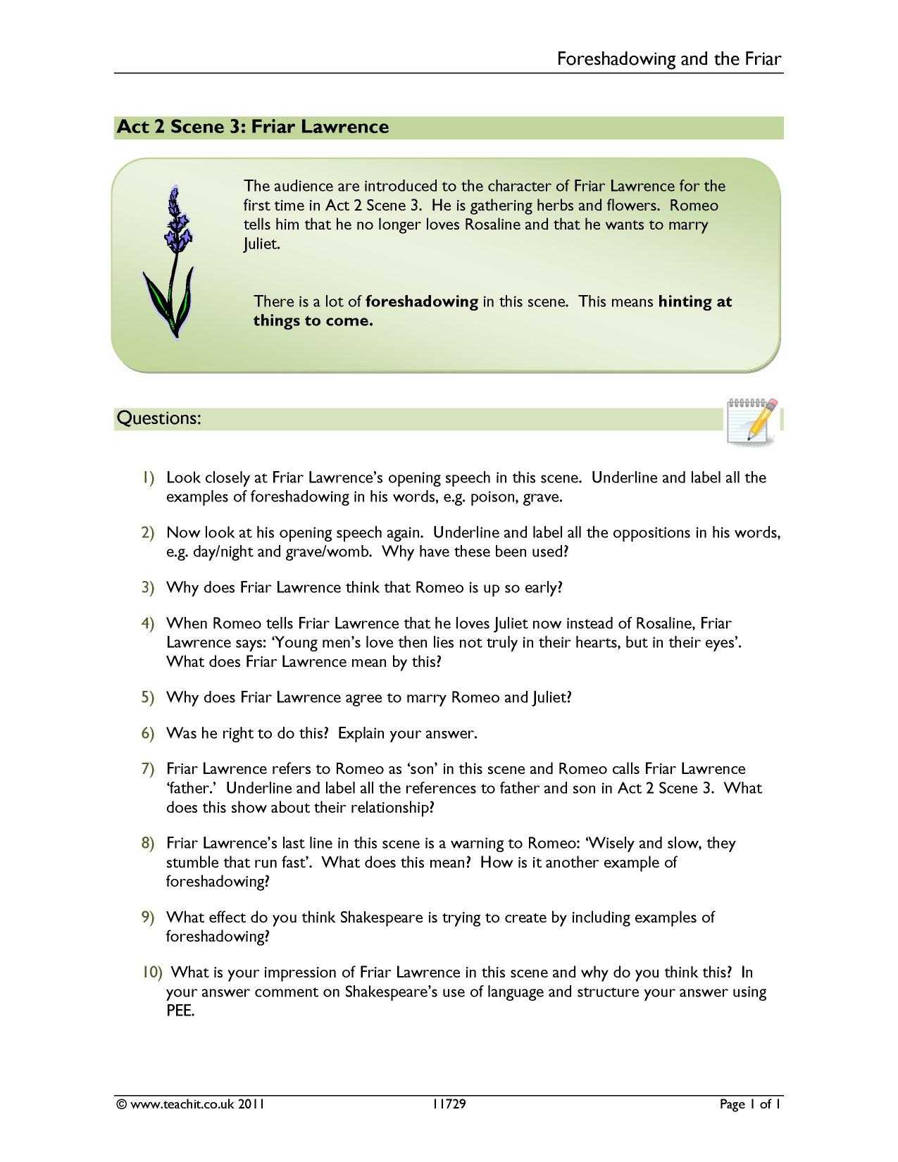 KS3 Romeo and Juliet – Foreshadowing Worksheet