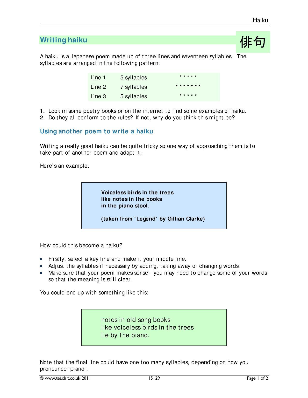 worksheet Haiku Worksheet ks3 writing poetry teachit english 2 preview