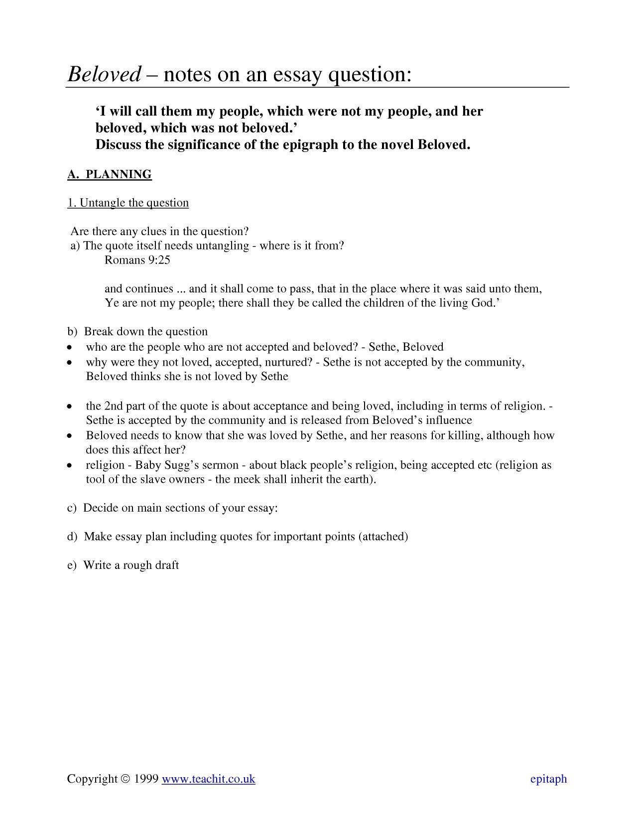 toni morrison beloved essay questions