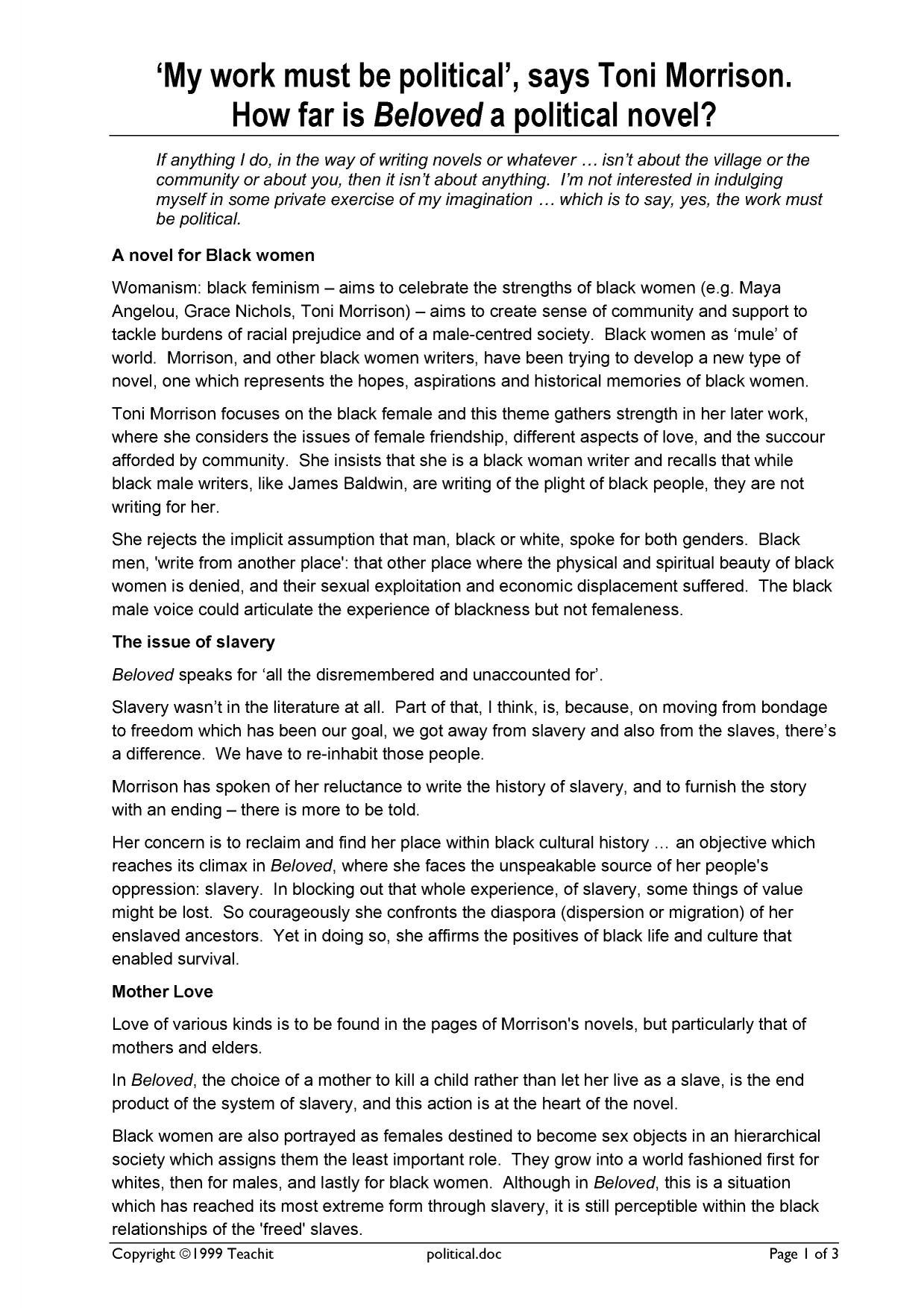 Beloved toni morrison essay