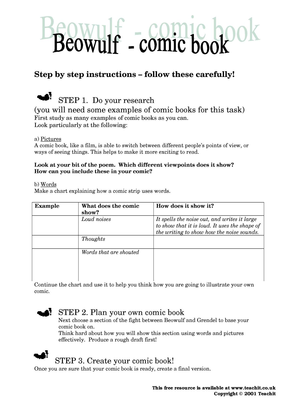 Worksheets Beowulf Worksheets ks3 beowulf teachit english 3 preview