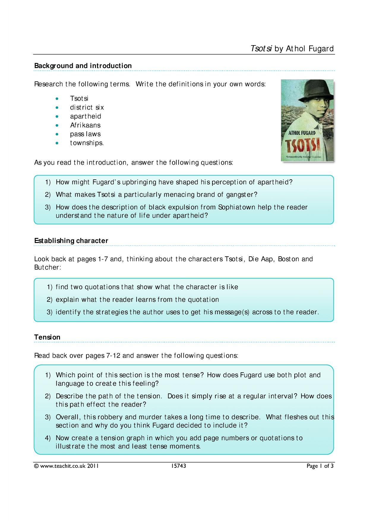 tsotsi by athol fugard ks4 prose key stage 4 resources 2 preview