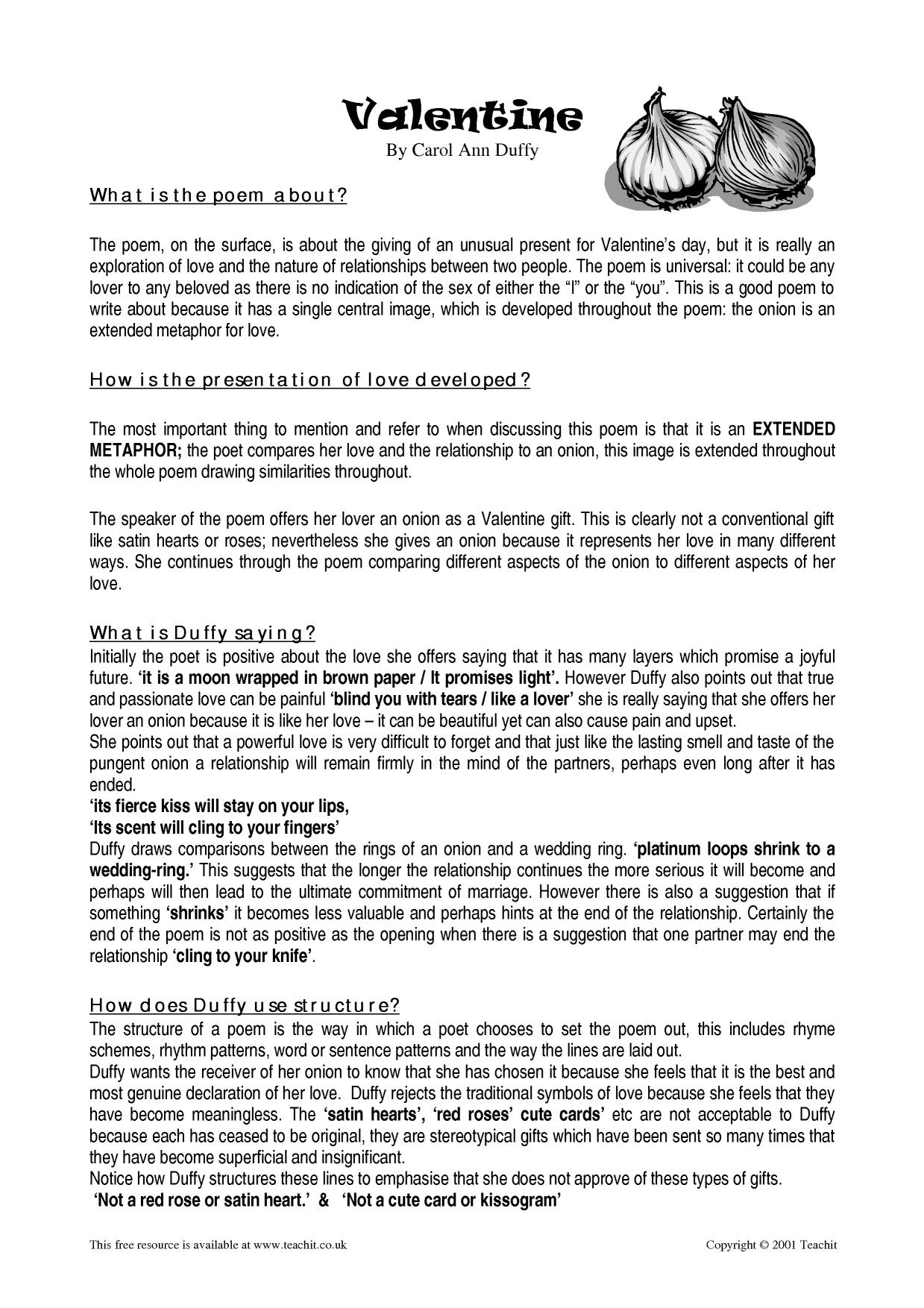 valentine carol ann duffy essay plan Compare and contrast essay high school vs university yoga plan valentine duffy carol essay ann xenotransplantation dissertation proposal social media and self.