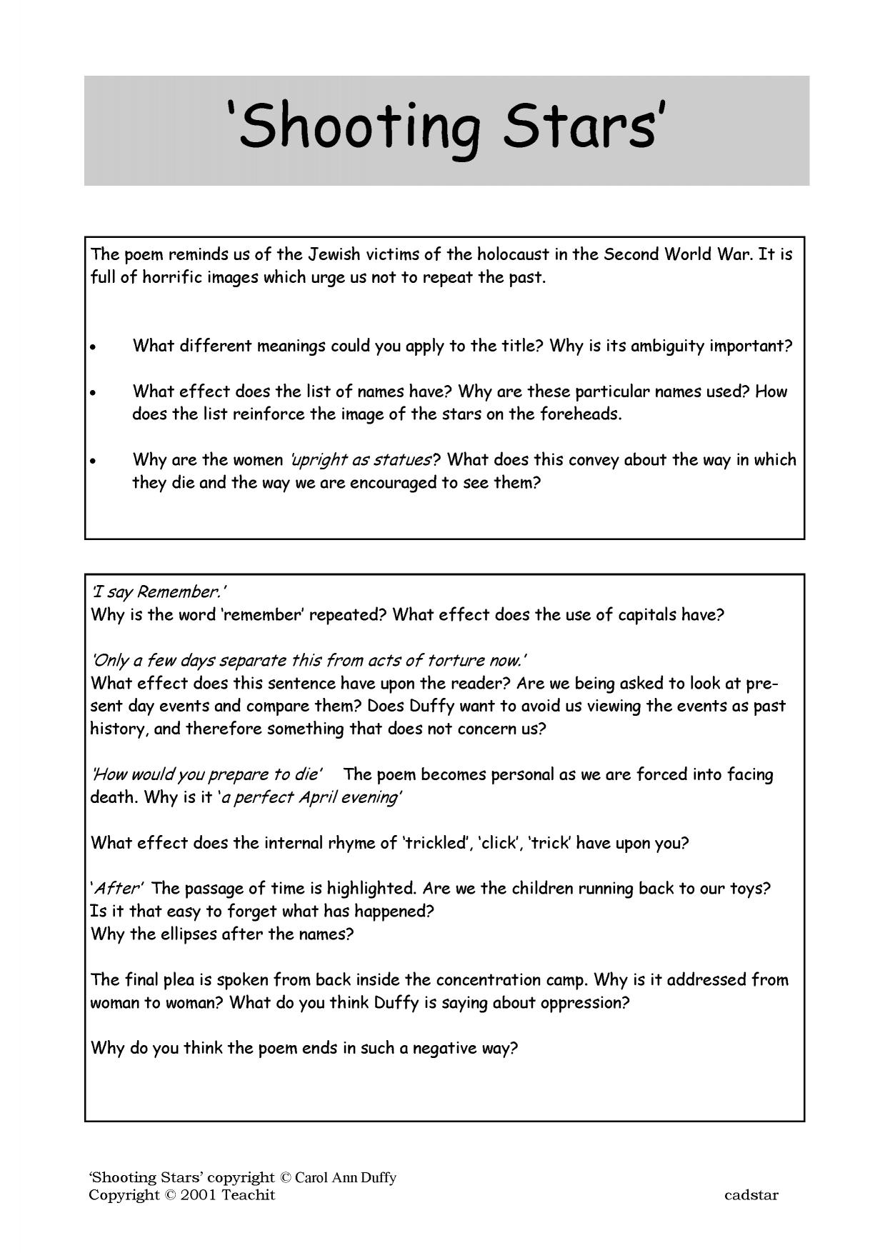 shooting stars essay carol ann duffy Model essays shooting stars student essay (2) carol ann duffy's poem 'shooting stars' is a poem in which human suffering is effectively portrayed.