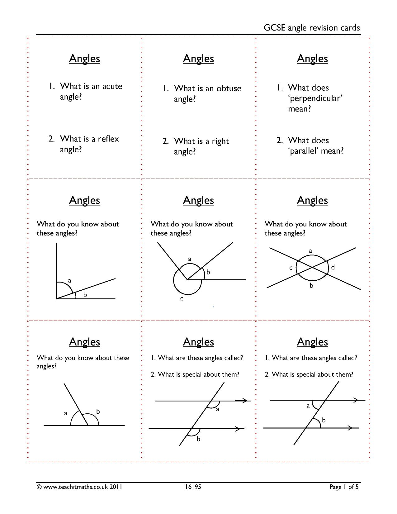 gcse angle revision cards geometry and measure angles u2013 basic
