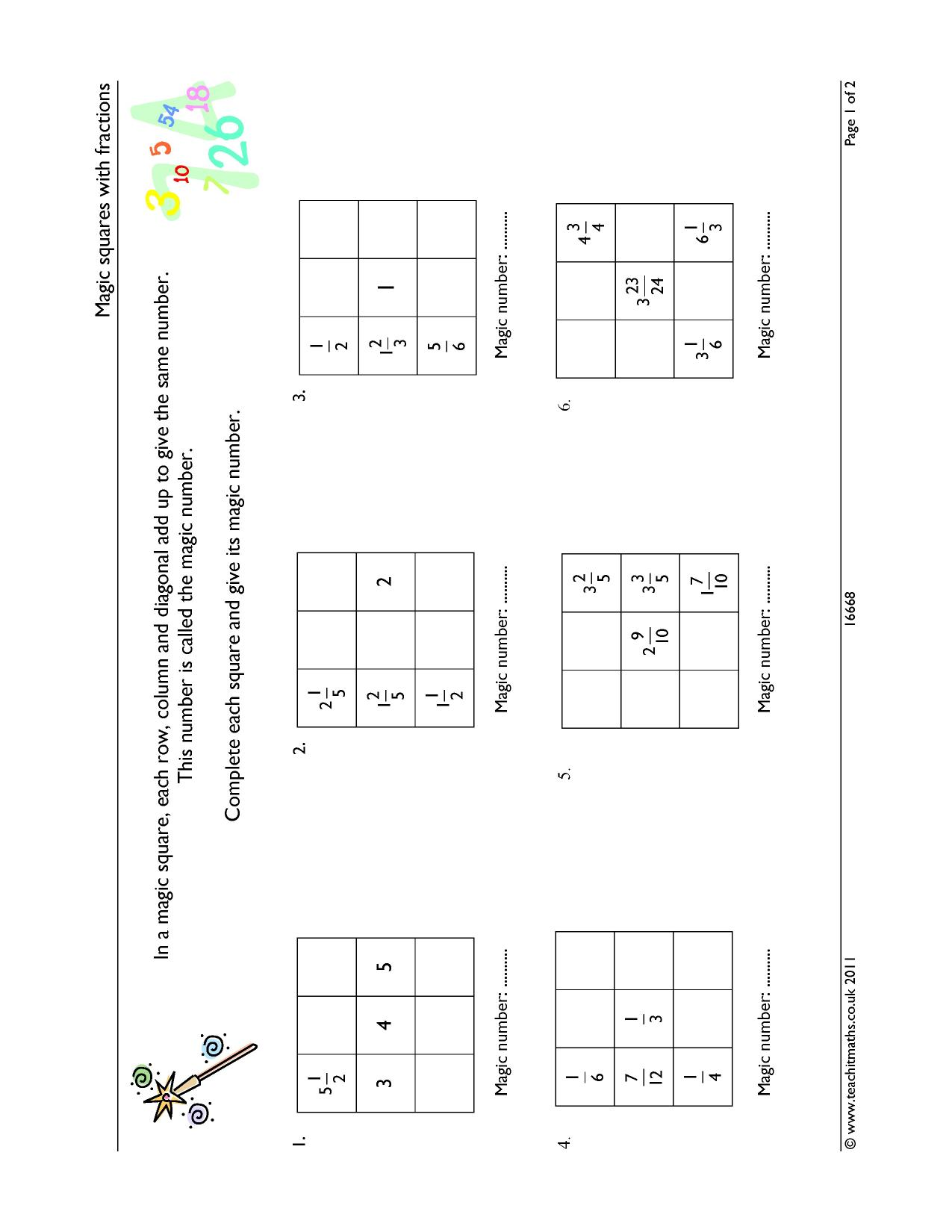 Magic squares with fractions