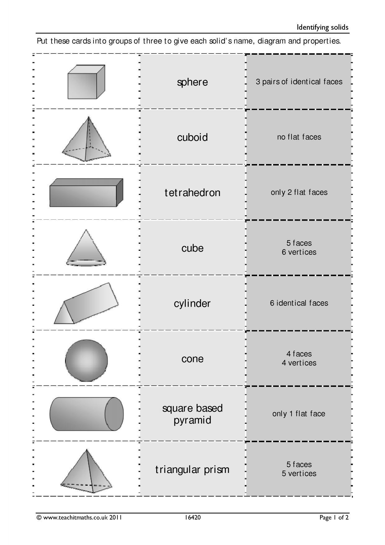 Solids and nets – identifying 3D shapes   Geometry and measure   Key ...