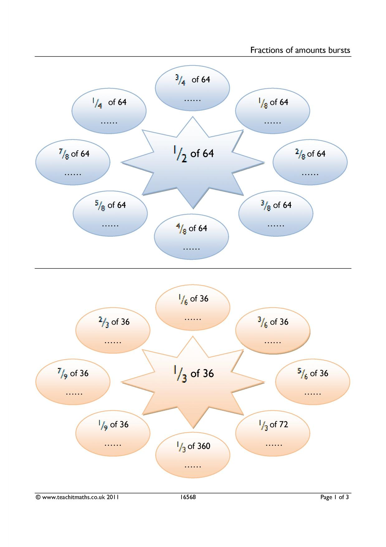 Fractions fractions of amounts All KS3 resources – Fractions of Quantities Worksheet