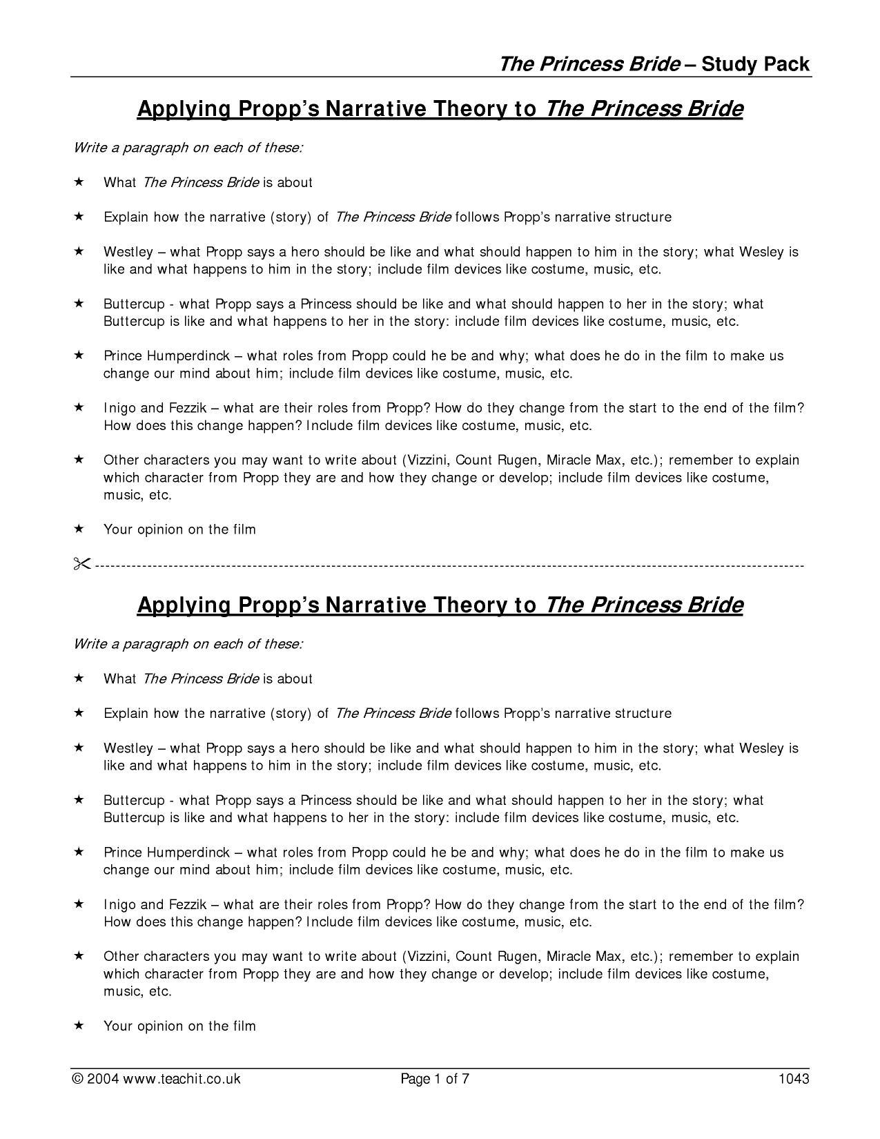 the princess bride comparisson essay example