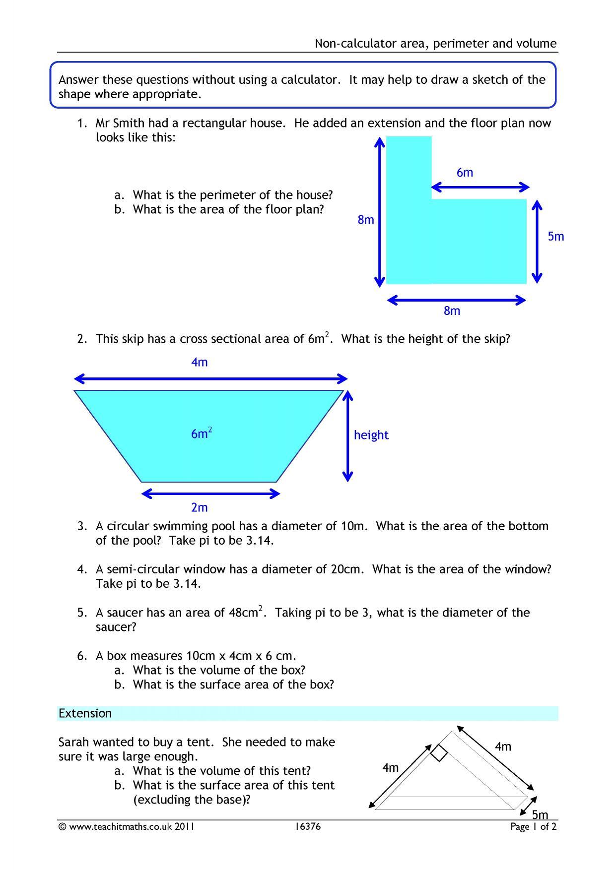 Non-calculator area, perimeter and volume