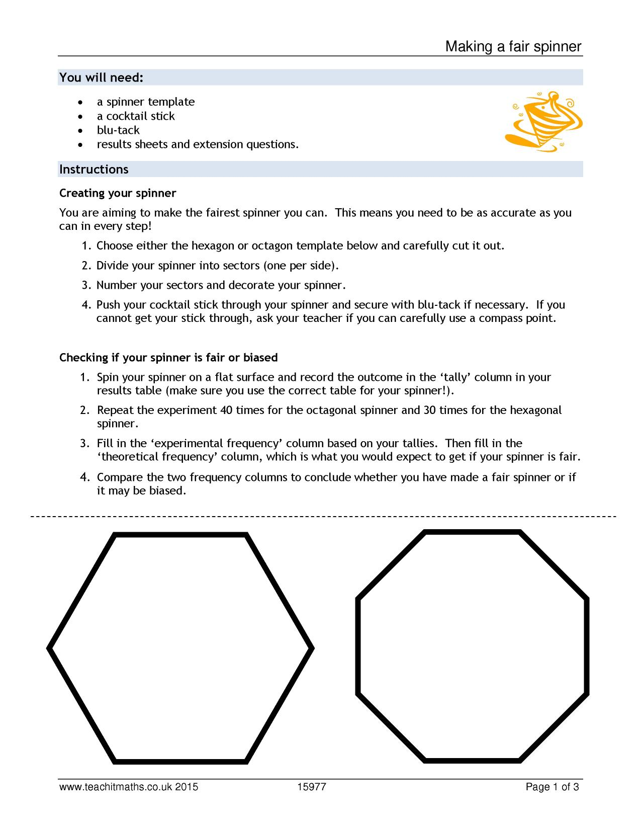 Making a fair spinner Probability Bias and fairness Home page – Probability Spinner Worksheet