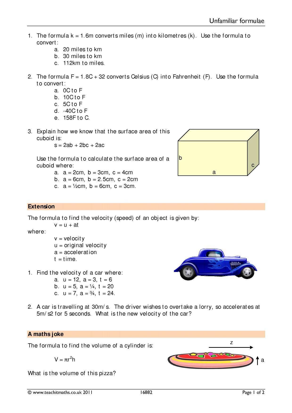 Worksheets U Substitution Worksheet ks4 formulae and substitution teachit maths 4 preview