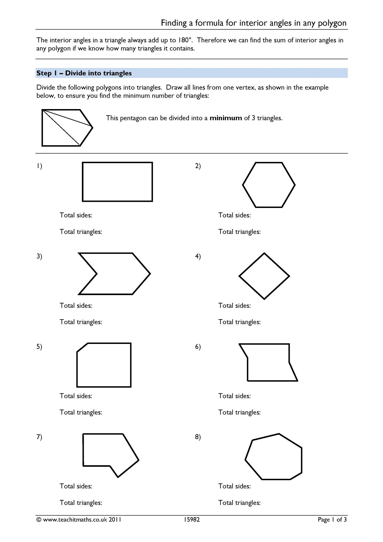 Finding a formula for interior angles in any polygon - Exterior angle of polygon formula ...