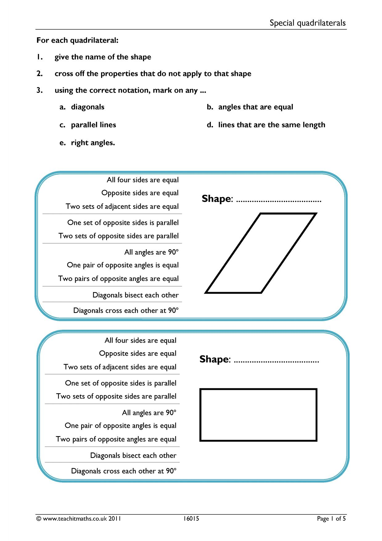 d Shapes Worksheets nmctoastmasters Special Quadrilaterals