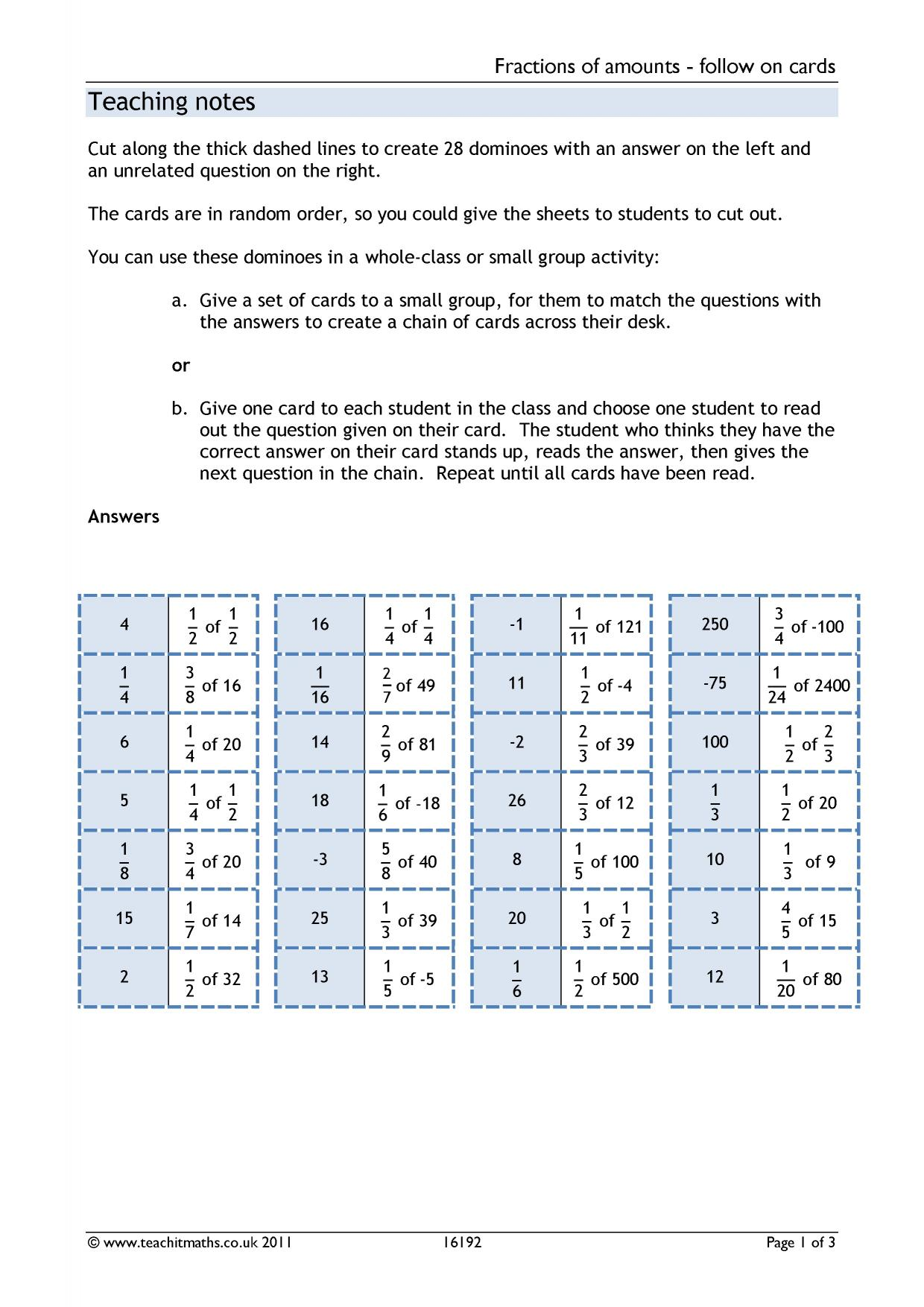 Fractions Of Amounts Ks3 Worksheet fractions of amounts – Fractions of Amounts Worksheet