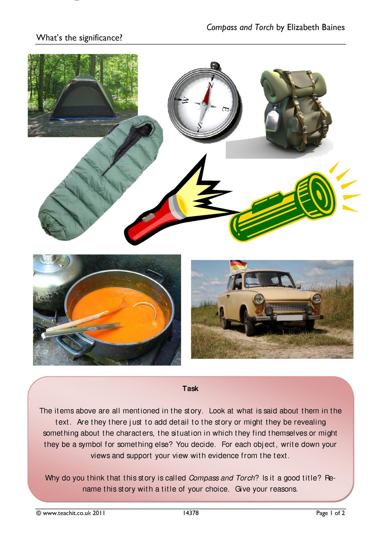 """compass and torch essay The short story, compass and torch, tells the experience of a father and son that go on a camping trip, to try and form a relationship, after being distant for """"one year."""
