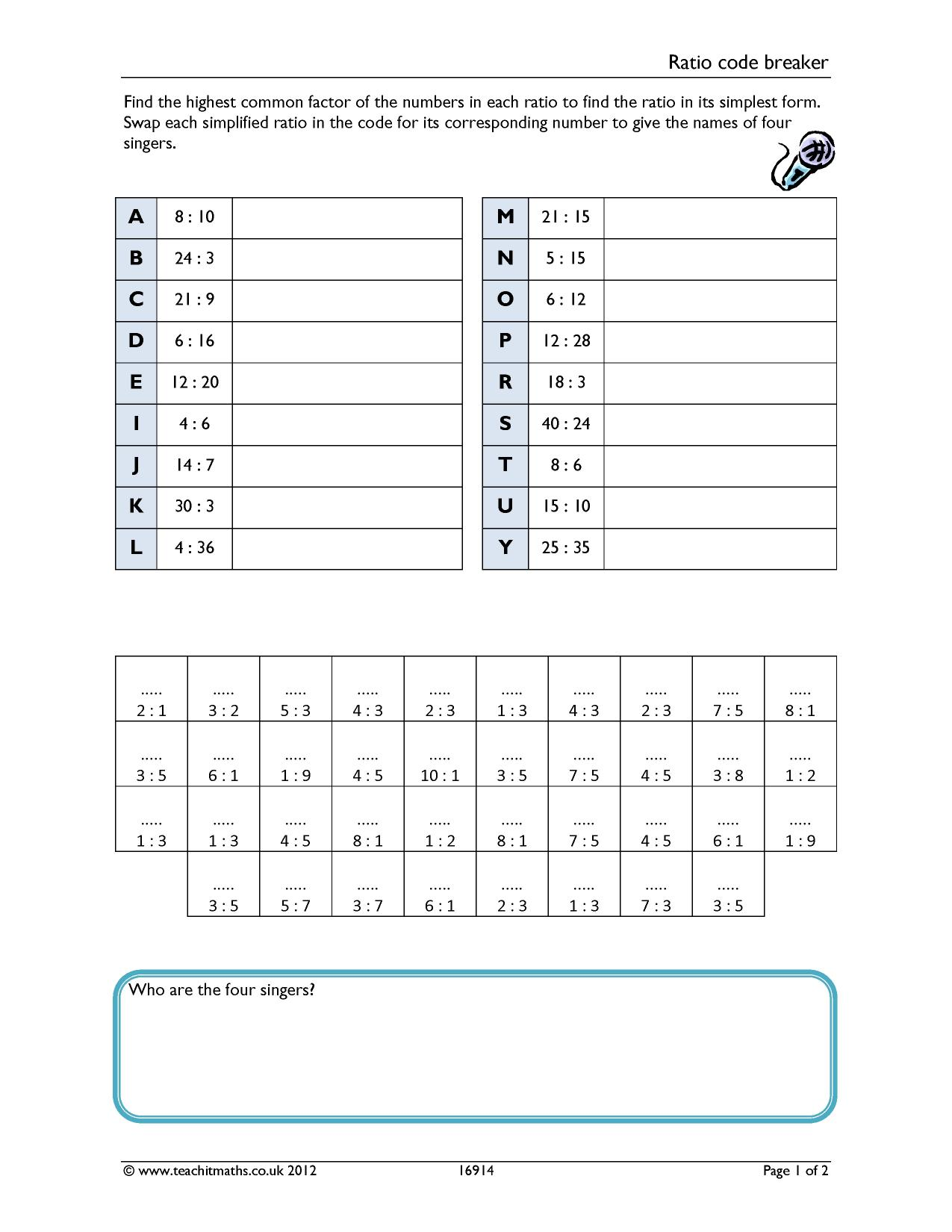 Ks3 Ratio And Proportion Teachit Maths