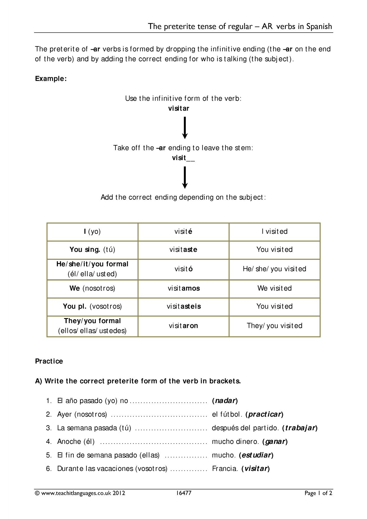 Verbs And Tenses Search Results Teachit Languages