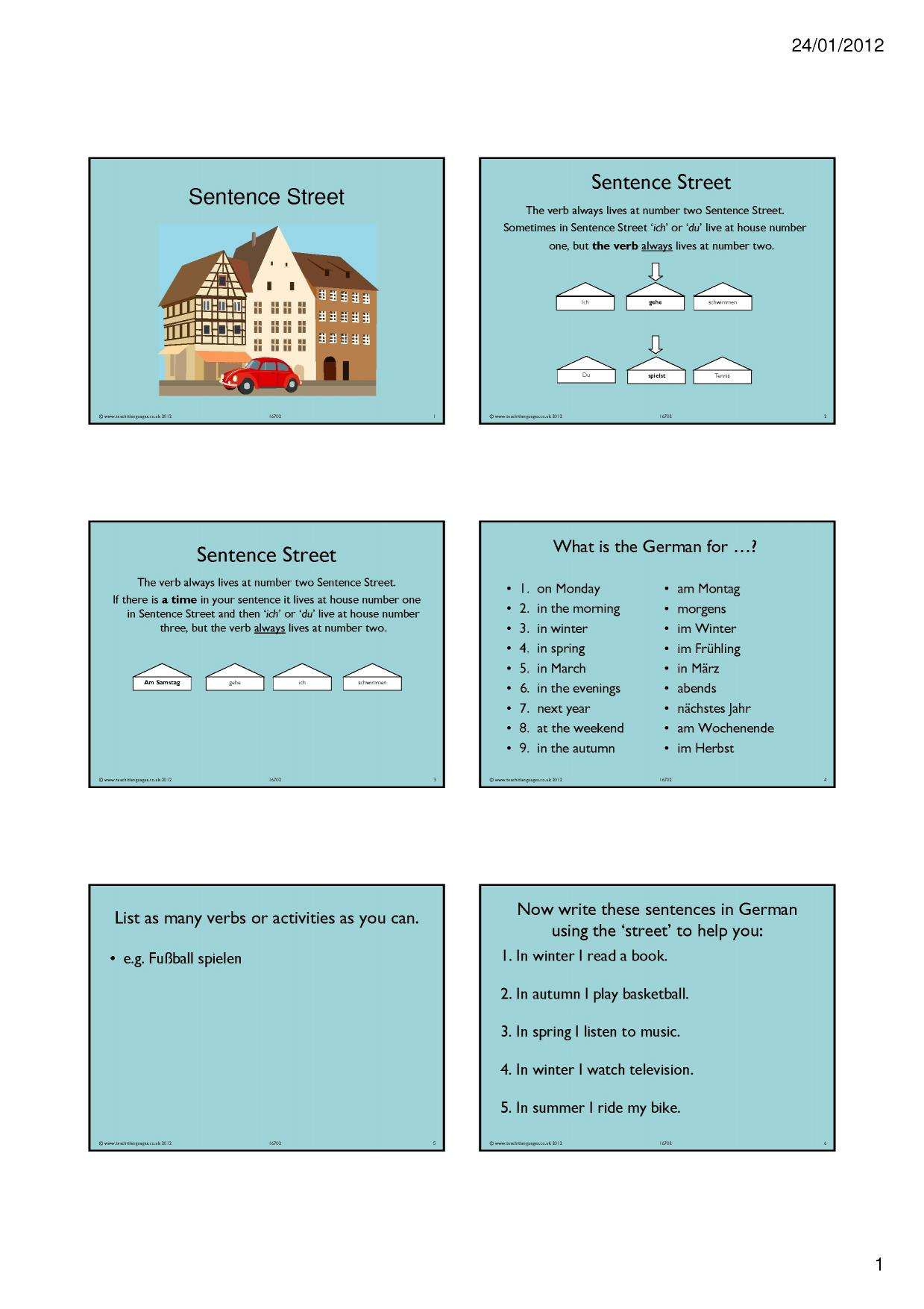 sentence building search results teachit languages. Black Bedroom Furniture Sets. Home Design Ideas