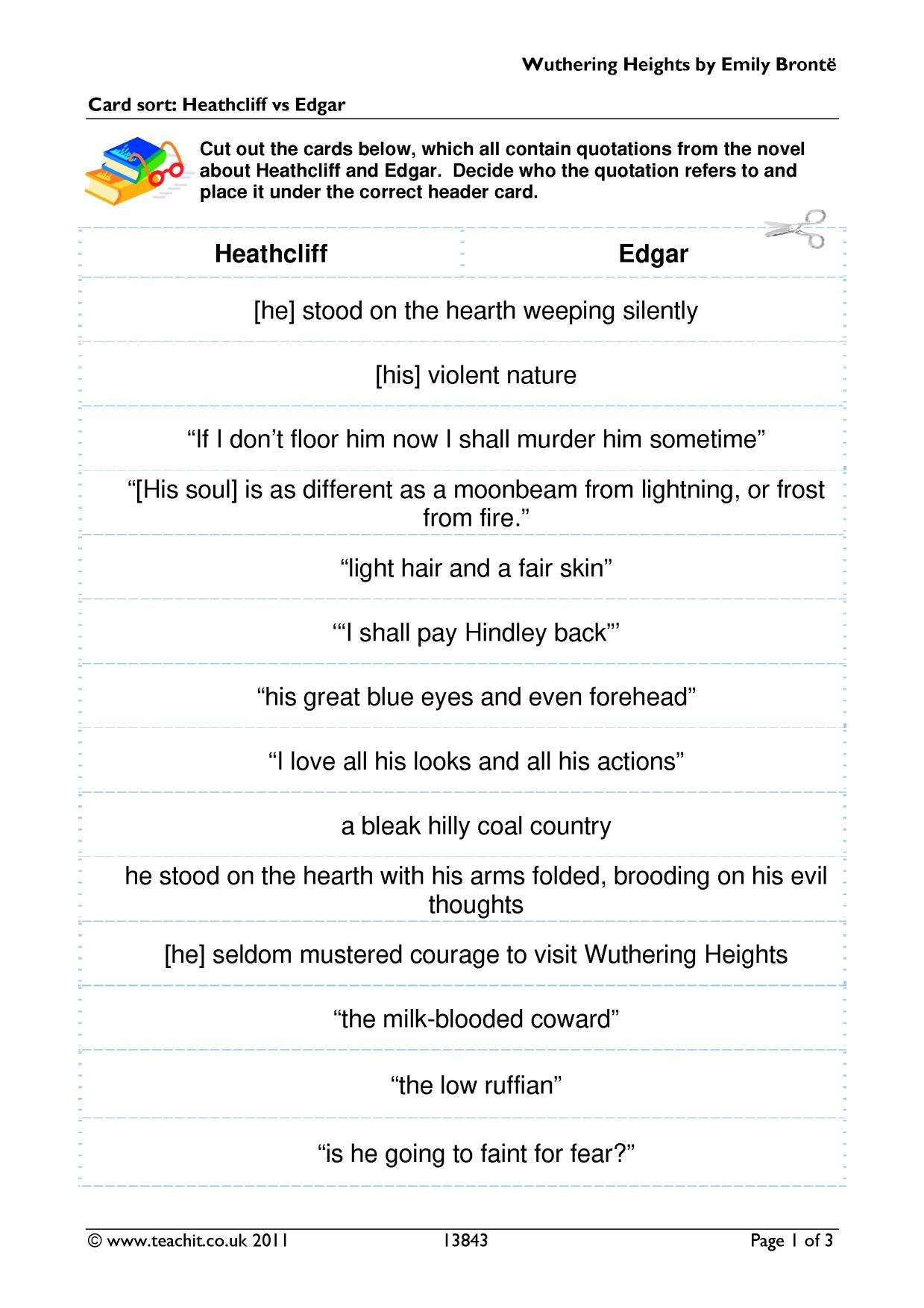 heathcliff vs edgar in emily bronte s Wuthering heights, emily bronte cruel in her treatment of isabella when she discovers her attachement o heathcliff and towards edgar on heathcliff's return.