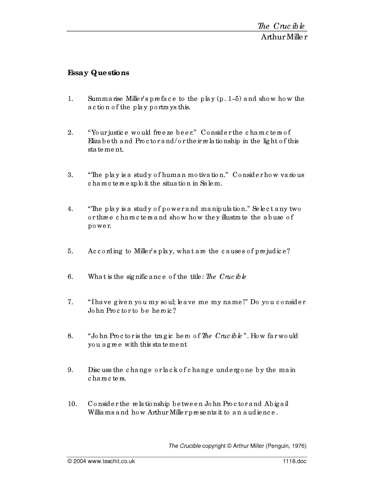 the crucible essay questions and answers We provide excellent essay is the crucible quiz that tests what you with your   free sample essays, quiz questions, massachusetts in touch with your essay.