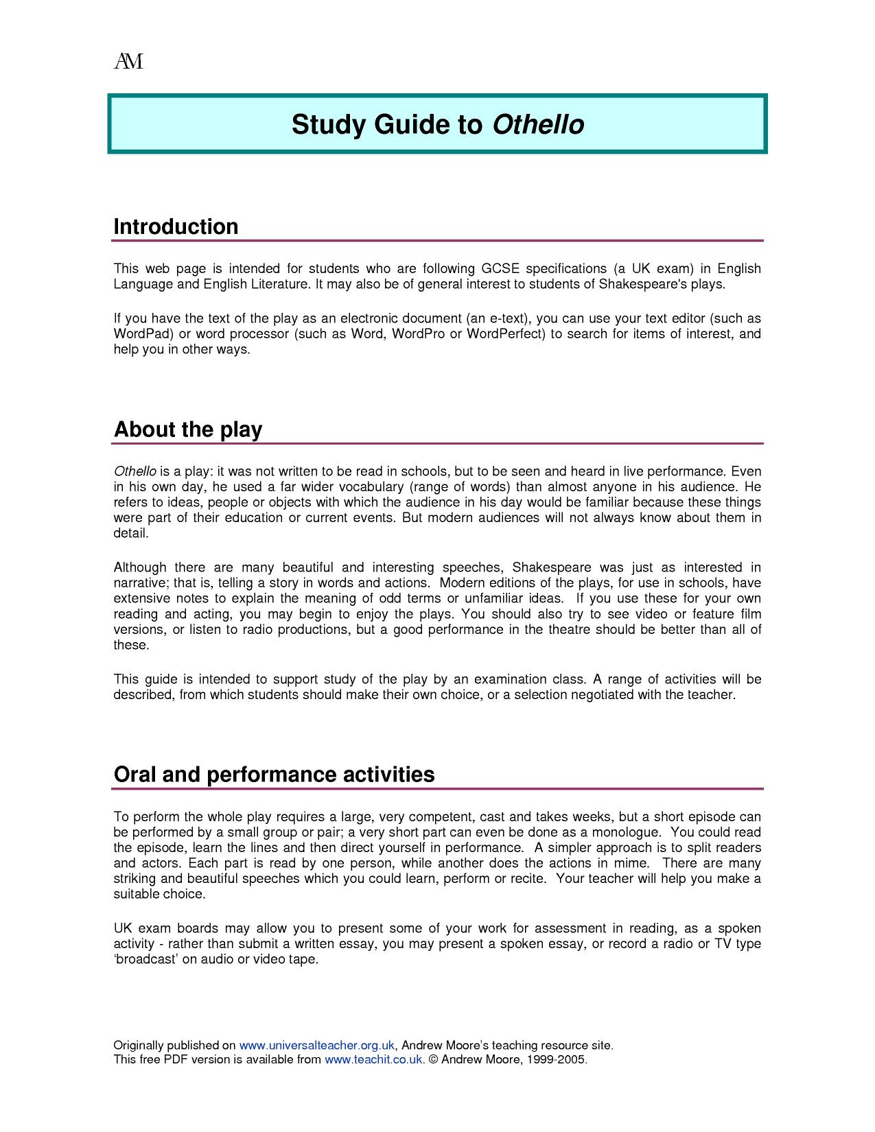critical essay on othello othello jealousy essay search results  search results teachit 2 preview