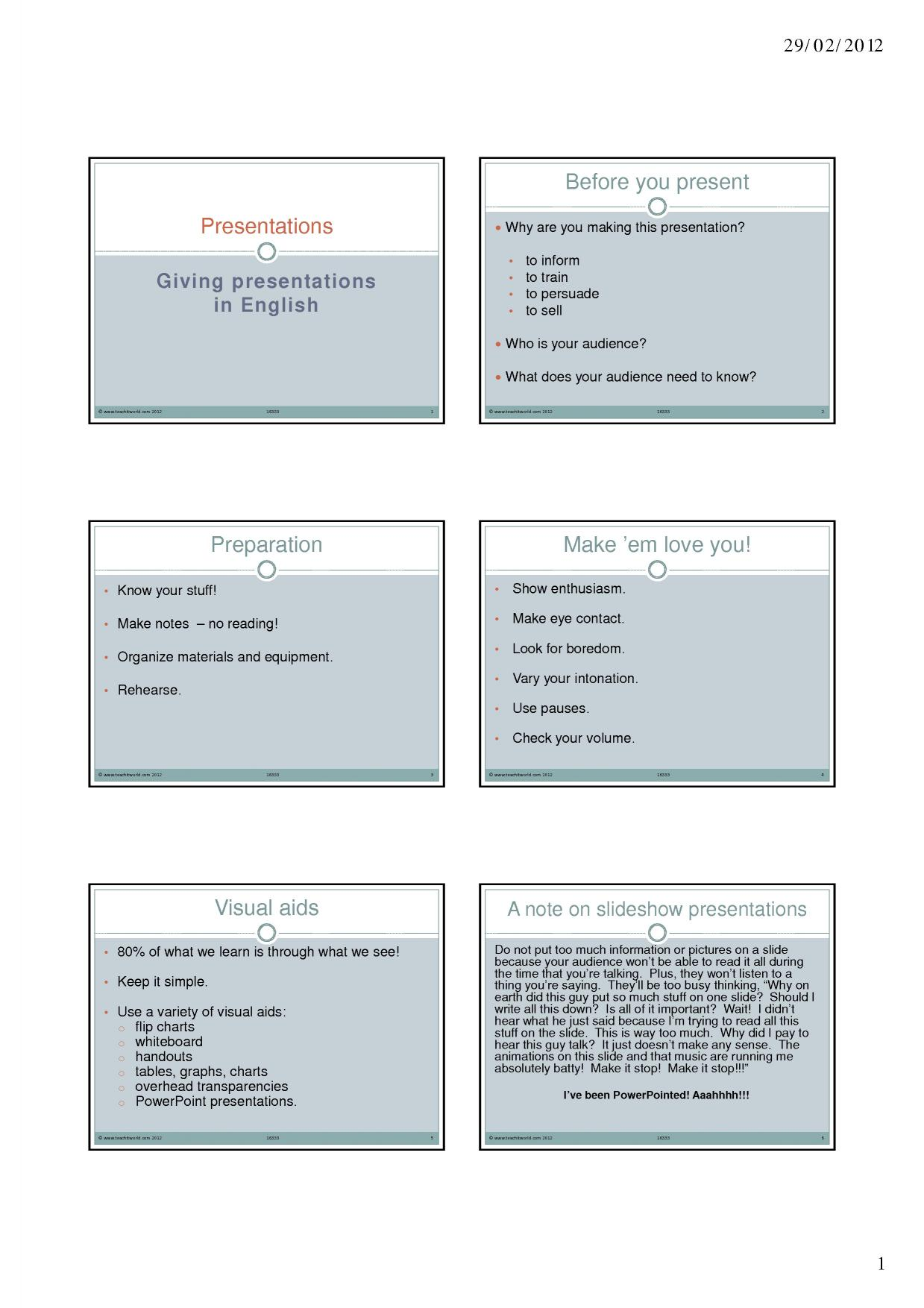 Making a presentation: language and phrases (1)