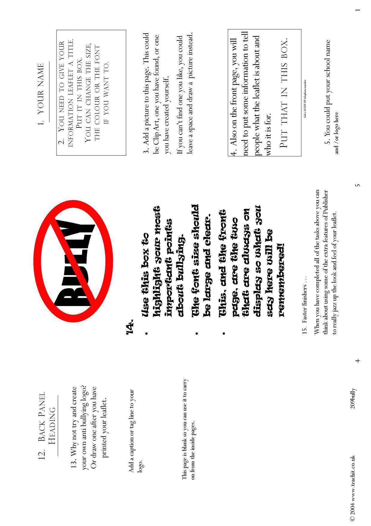 Bullying leaflet a publisher template leaflets argument and bullying leaflet a publisher template leaflets argument and persuasive writing home altavistaventures Images