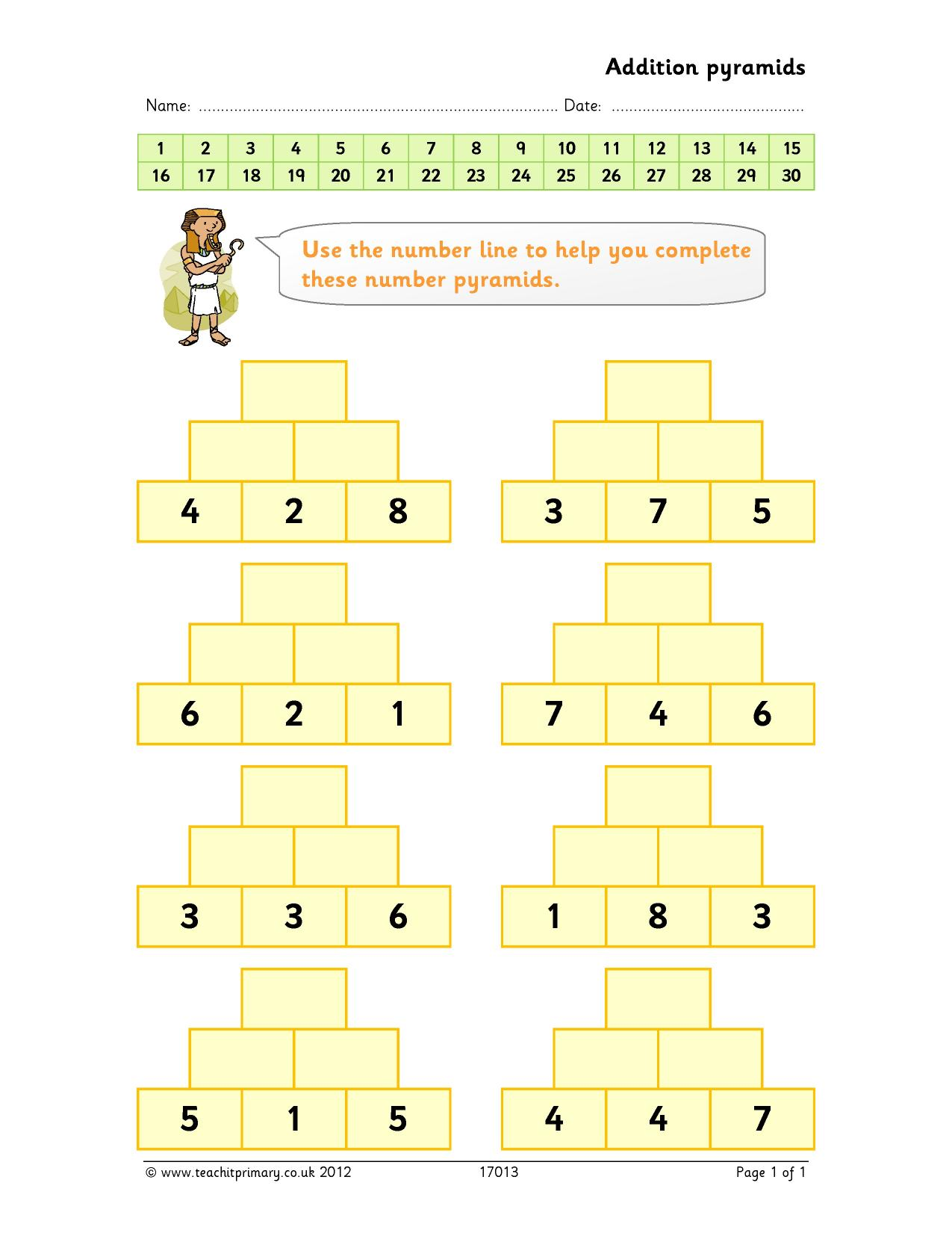 KS2 Addition and subtraction the basics – Addition Pyramid Worksheets