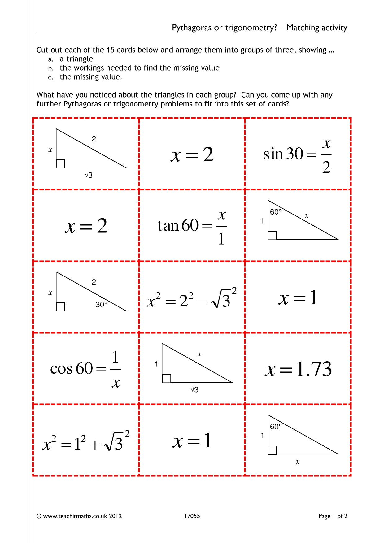 Trigonometry rich task 1 preview array pythagoras or trigonometry matching activity rh teachitmaths fandeluxe Choice Image