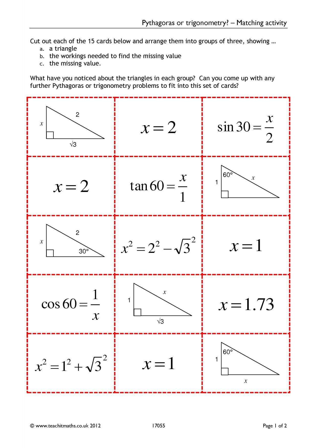 pythagoras or trigonometry matching activity. Black Bedroom Furniture Sets. Home Design Ideas