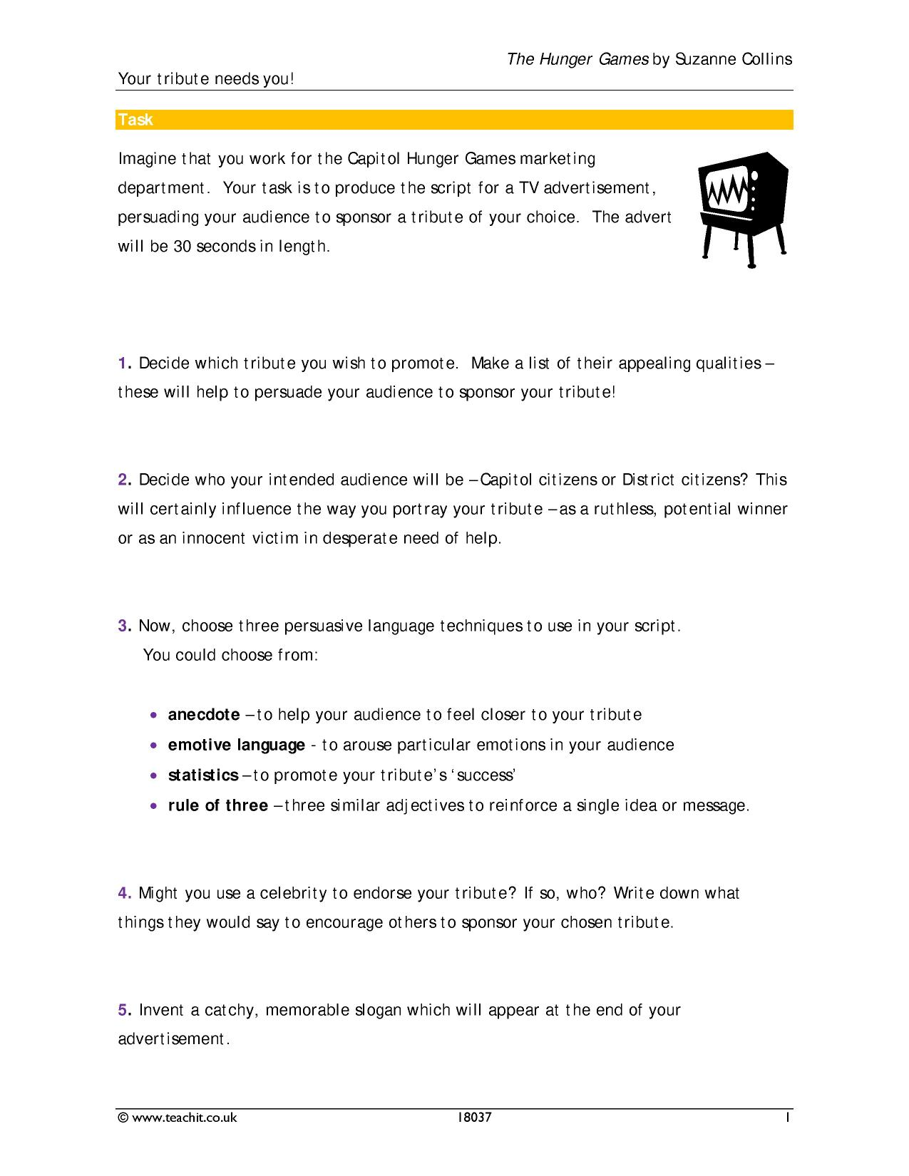 Worksheets Hunger Games Worksheets ks3 the hunger games by suzanne collins teachit english 4 preview