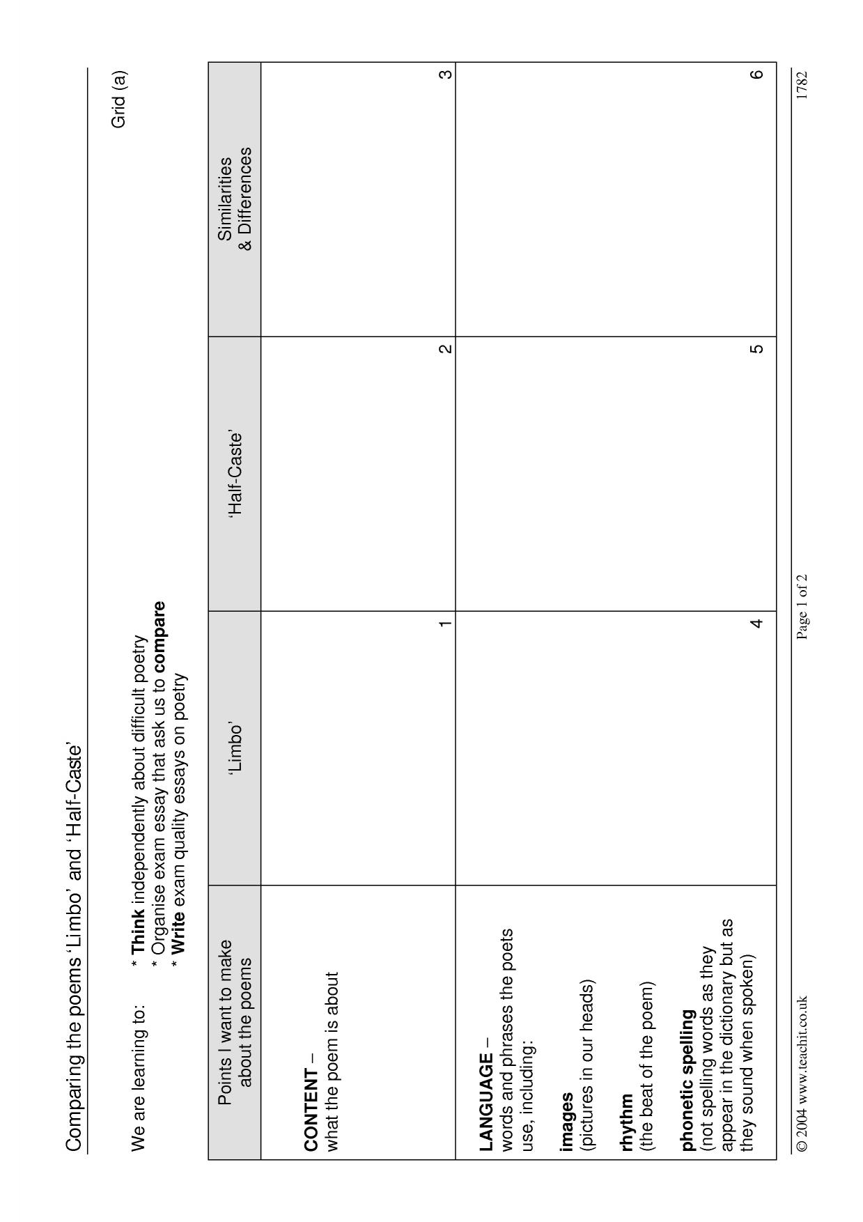 limbo and half caste comparison grid pre 2010 aqa anthology resource thumbnail