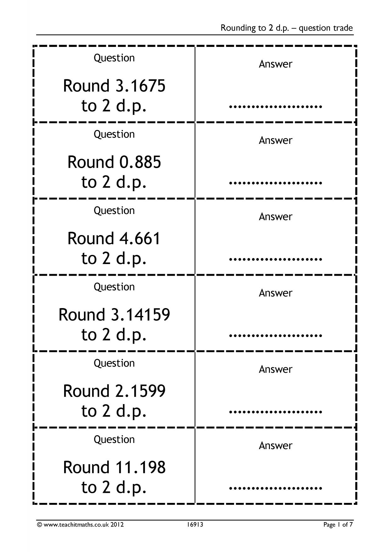 Rounding decimals worksheets ks3