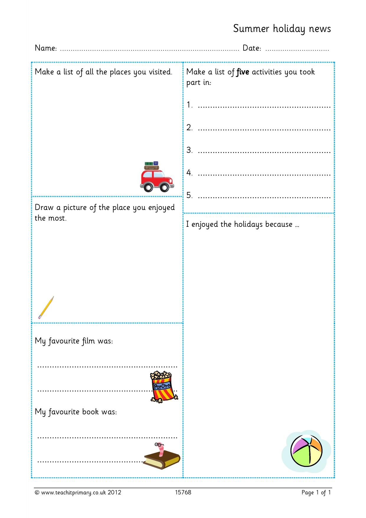 Recount writing activities ks1 sats