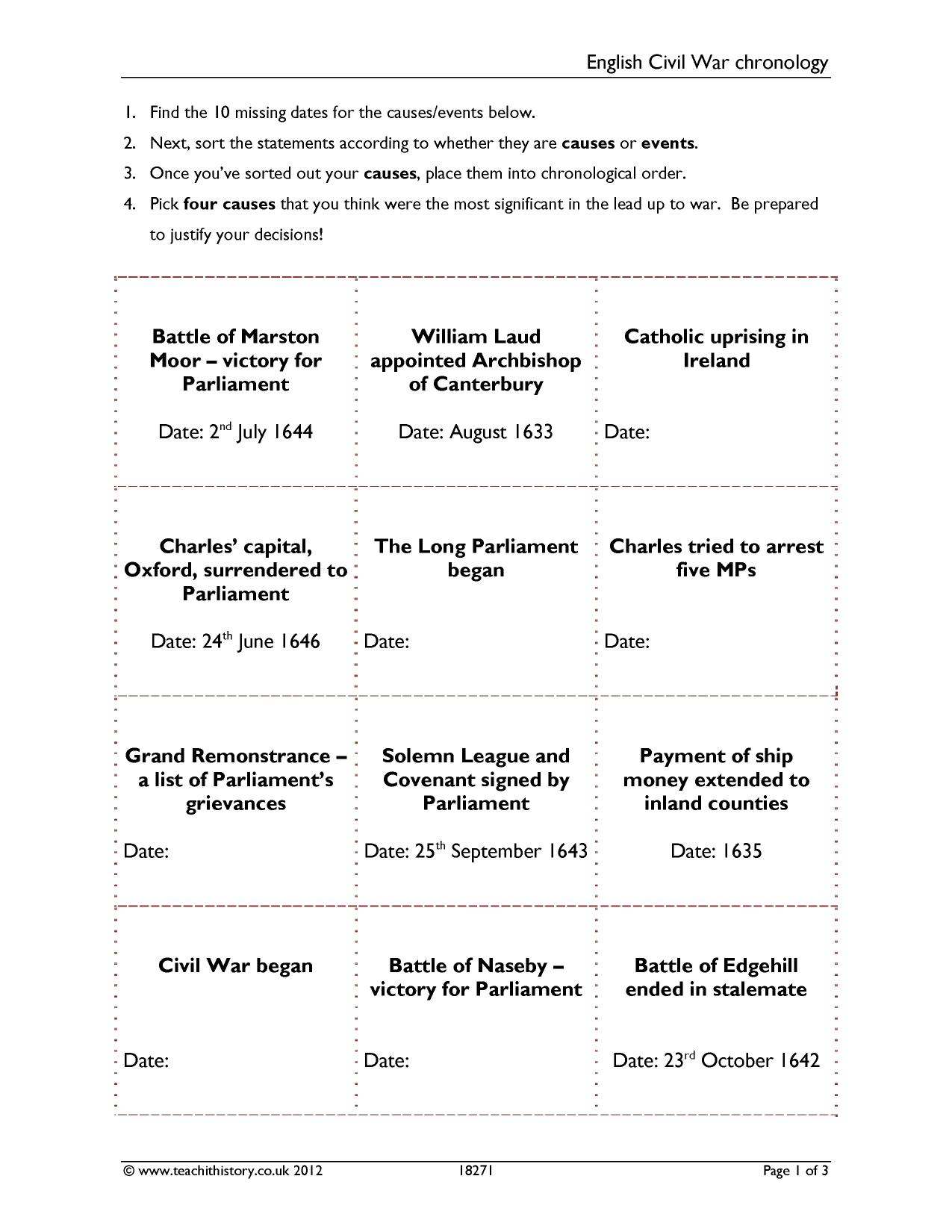 worksheet Causes Of Civil War Worksheet ks3 the english civil war teachit history 1 preview