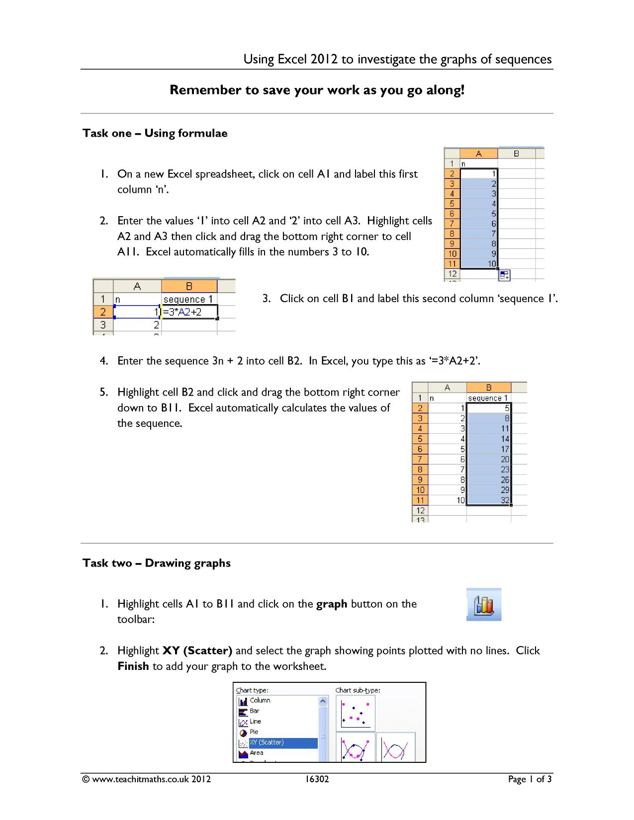Using Excel and sequences to investigate straight line graphs