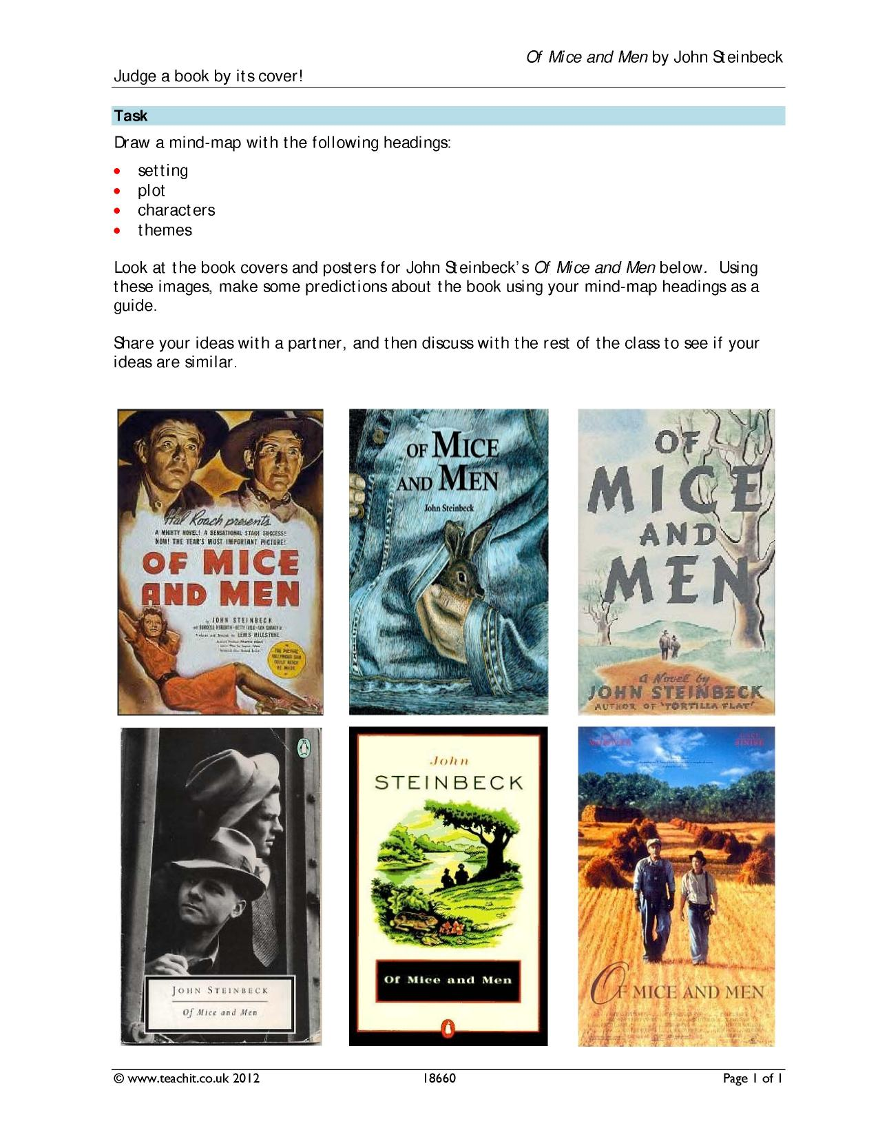 mice men novel essays Characters in of mice and men english literature essay although lennie is among the principal characters in of mice and men, he is perhaps the least dynamic.