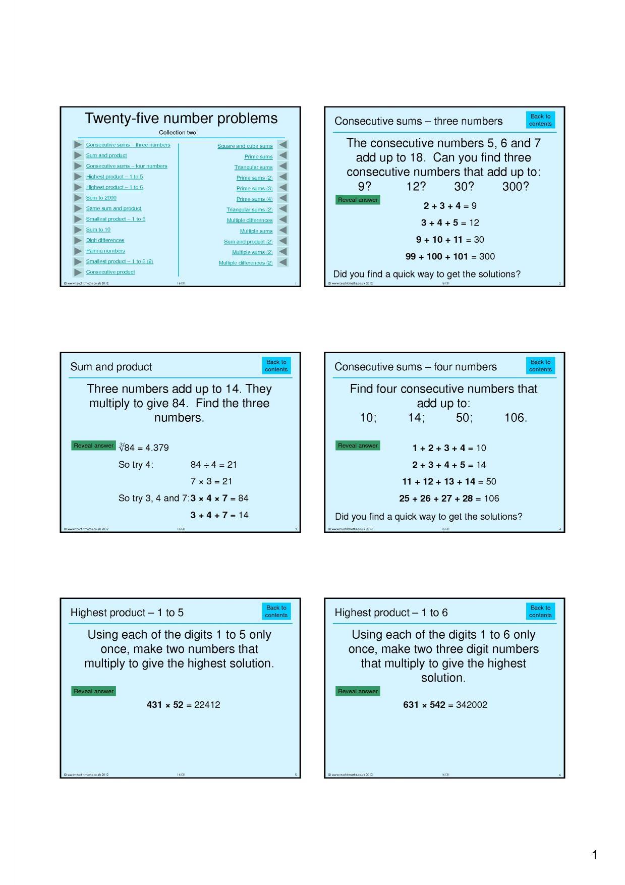 KS3   Number properties – mixed   Teachit Maths
