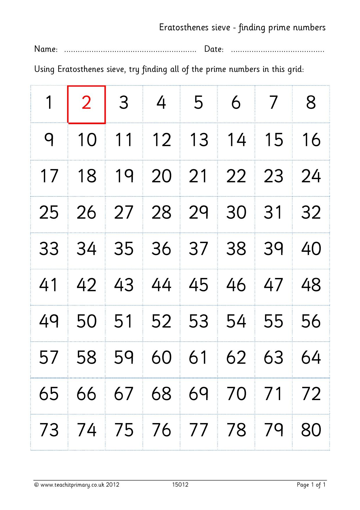 worksheet Sieve Of Eratosthenes Worksheet eratosthenes sieve finding prime numbers number and place value resource thumbnail