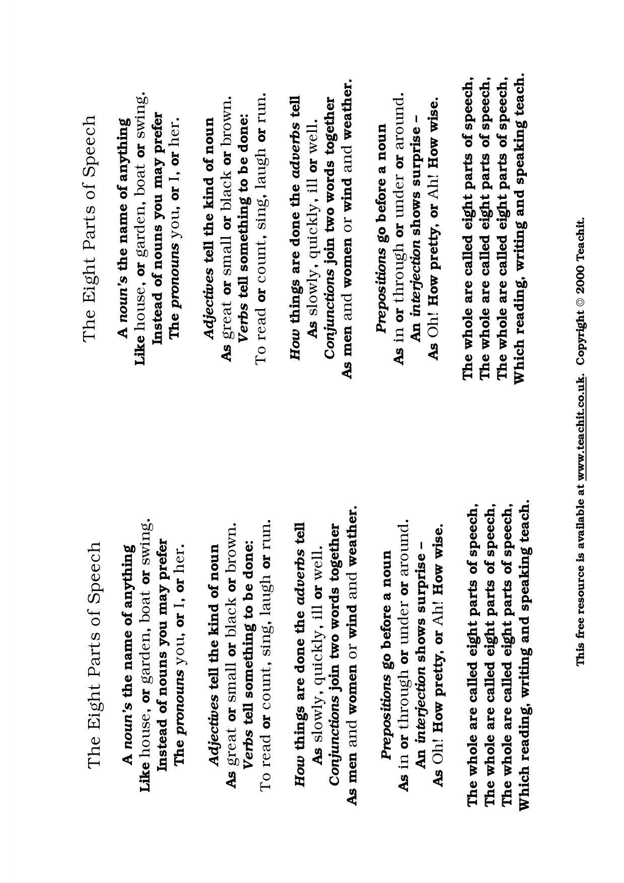 KS3 Word classes – Eight Parts of Speech Worksheet