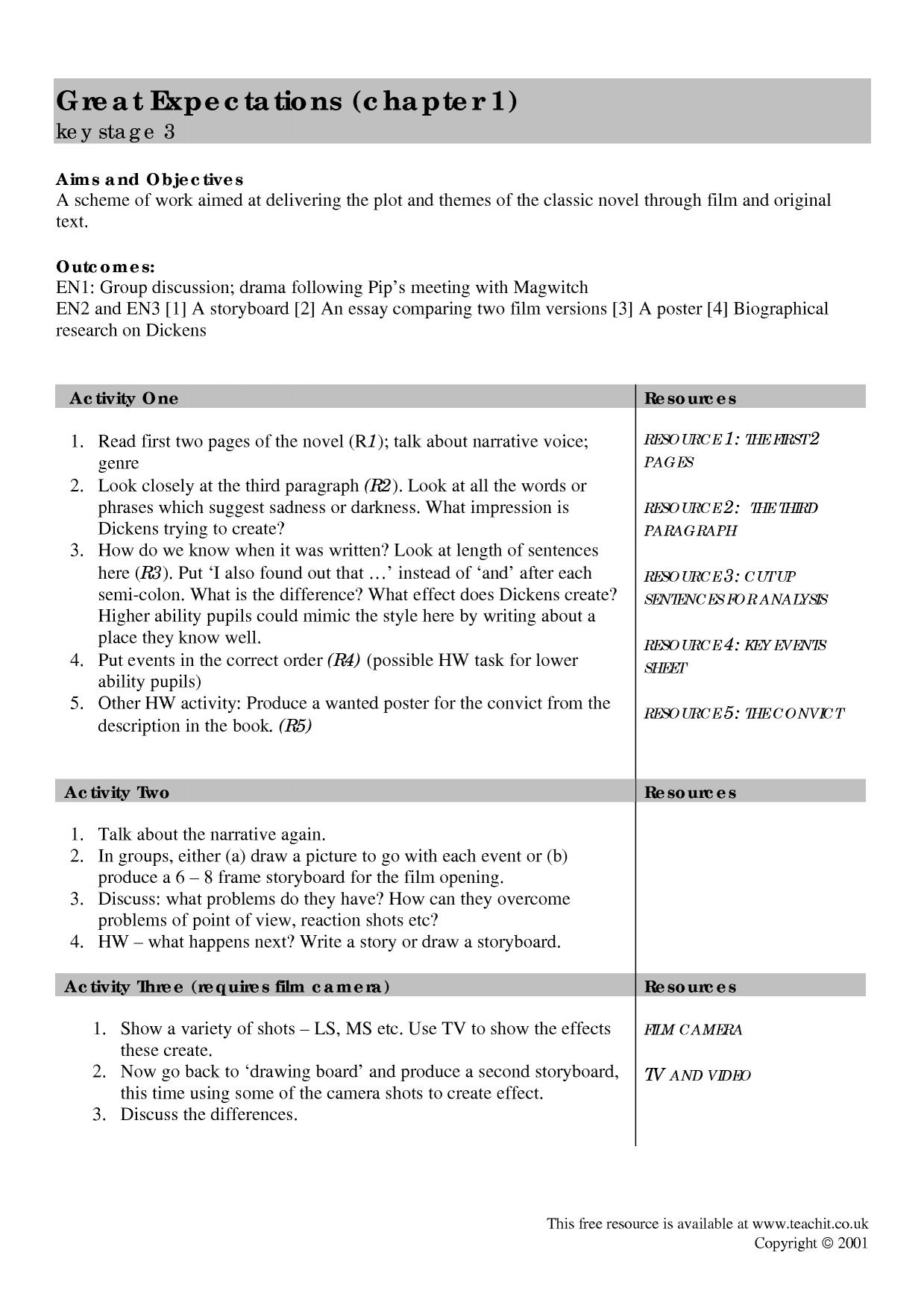 great expectation essay personal essay tips tips for writing a  scheme of work great expectations by charles dickens home page resource thumbnail