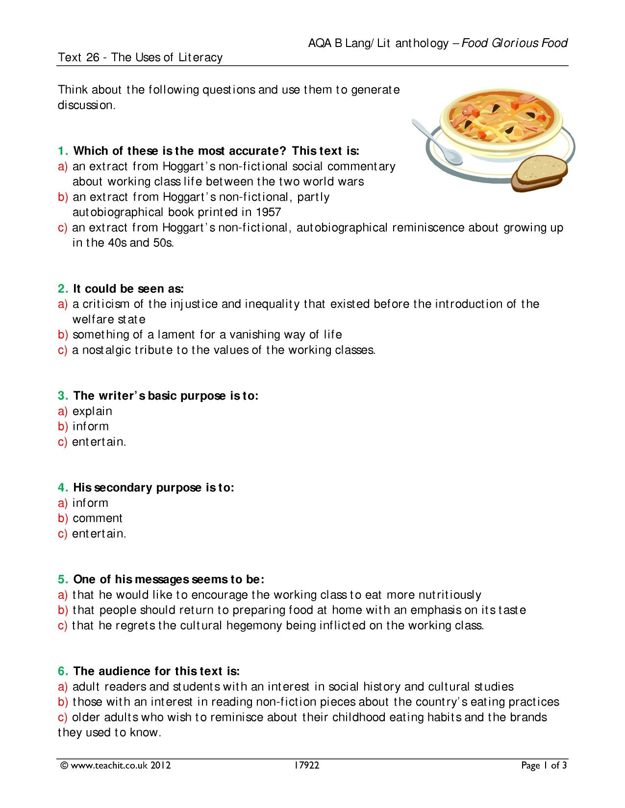 aqa food anthology compare two texts Students study the aqa anthology:  compare and contrast how the writers and speakers in these extracts present paris you should  paragraph two here the .