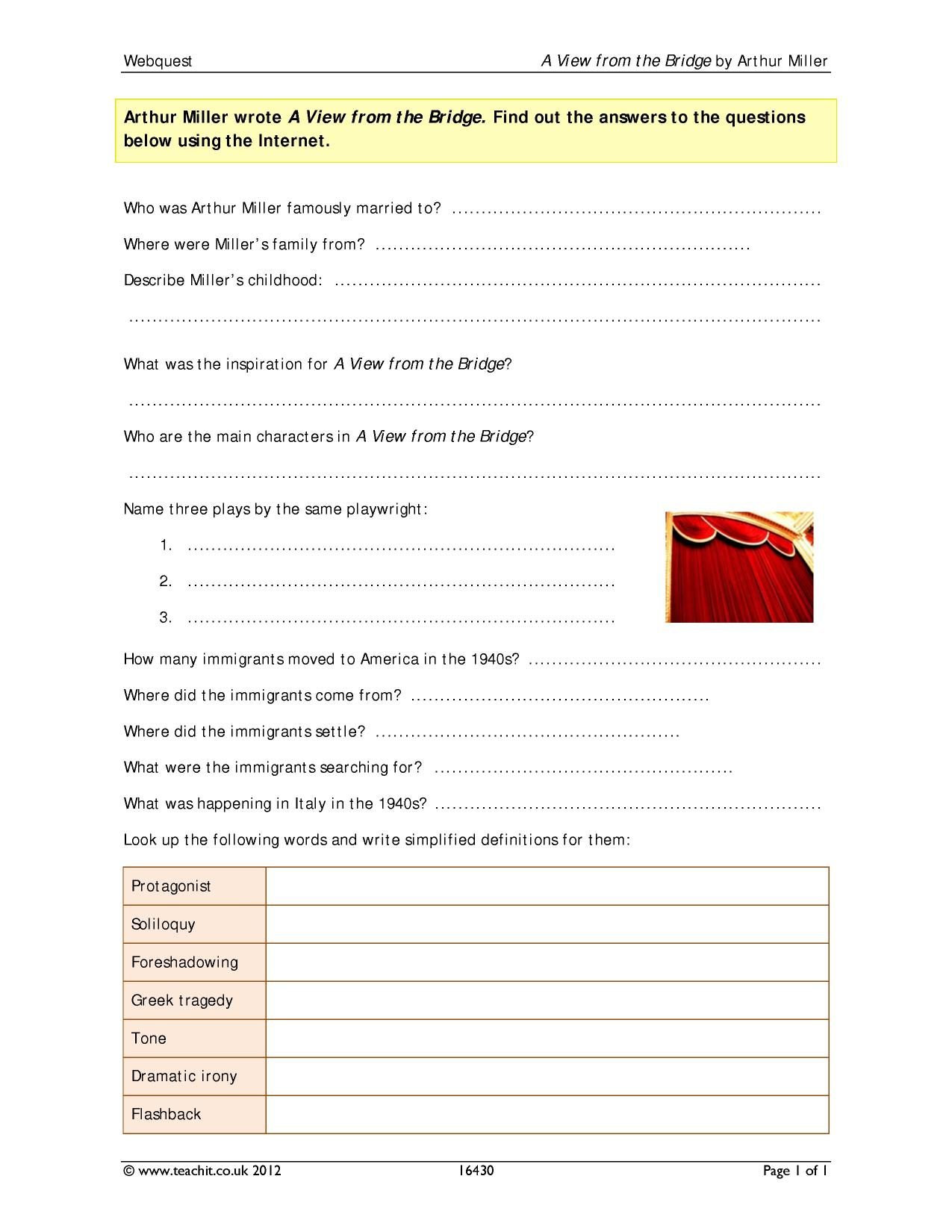 an analysis of a view from a bridge a play by arthur miller The quiz and worksheet can help you see what you know about ''a view from the bridge  arthur miller examine in his play  a view from the bridge: themes & analysis.