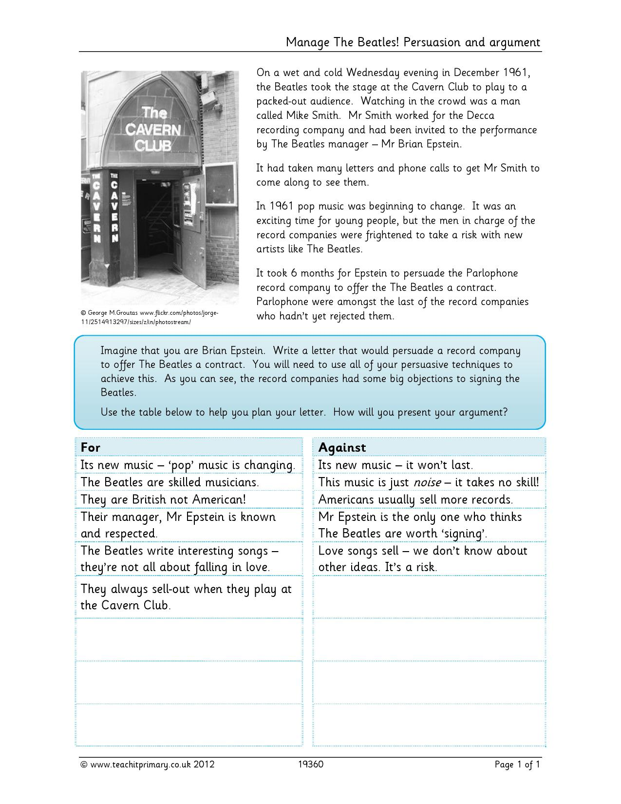 persuasive writing primary resources An english lesson pack for ages 7-11 using guardian articles, looking at persuasive writing that promotes a particular point of view or argument in particular.