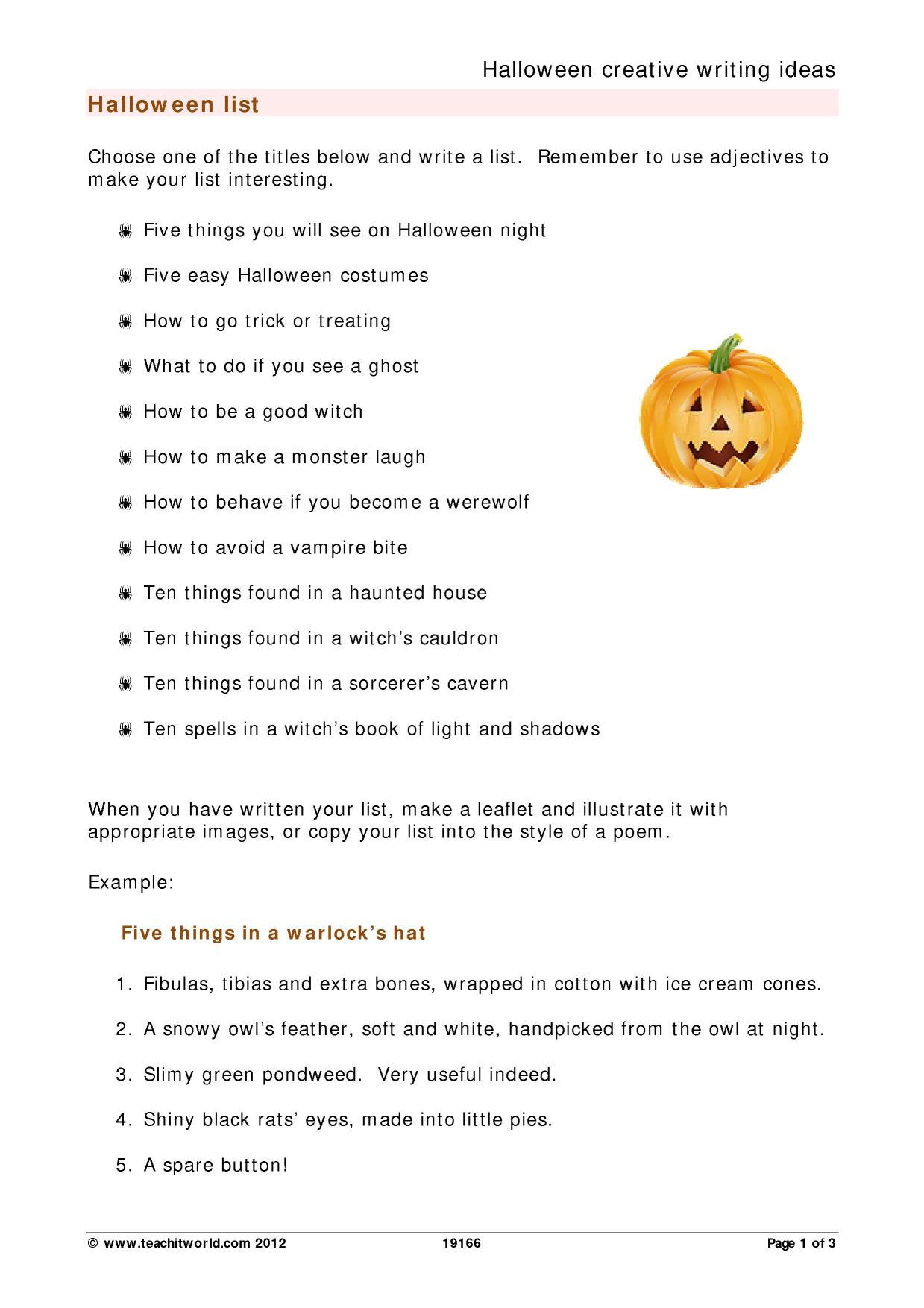 Halloween creative writing college essay editing service